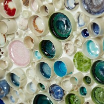 Porcelain rock pools filled with glass 2015
